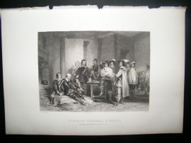 Historical C1870 Antique Print. Death of General Lindsay